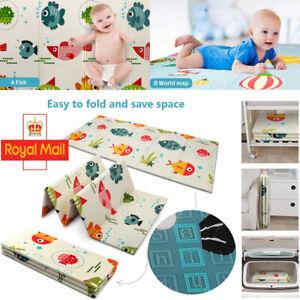 2Side Baby Kids Play Mat Foam Crawling Soft Blanket Folding Waterproof Carpet UK