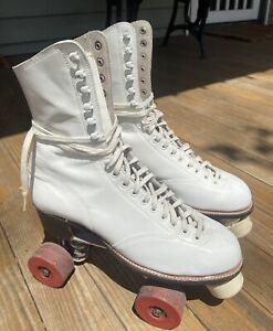 Vintage Betty Lytle HYDE White Roller Skates Sz. Womans 9.5 Chicago Star-Flite