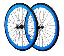 Fixie Flip-Flop Track 700c x45 mm Deep F&R Wheel Set w Tire & Tube Blue