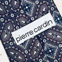 Pierre Cardin Mens Tie Gray Blue Red Paisley Silk Neck Tie