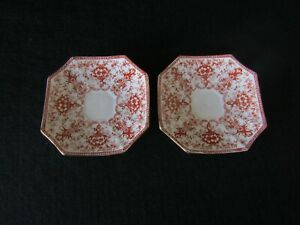 Wileman Foley Saucers x 2 Floral Garland Boarder Antique Square Shape C1890-1910