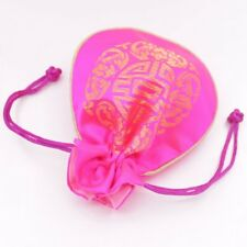 1 PCS Pink Man-made Silk Cloth Jewelry Gift Bag Pouch Drawstring Pouches 11-12cm