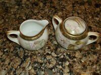 RS Germany Cream and Sugar Antique Vintage White Pink flower Gold Trim Pair Nice