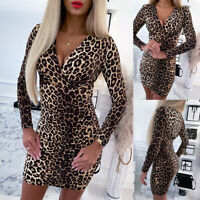 Women's Sexy Leopard V Neck Bodycon Mini Dress Ladies Party Skinny Slim Dresses