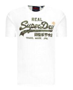 Superdry Mens Designer White Vintage Logo Camo Infill Tee Crew Neck T-Shirt