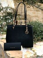 NWT Michael Kors Large Tote Embroidery Sofia Satchel / Wallet black Gold
