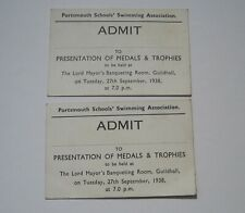 1938 PORTSMOUTH SCHOOLS SWIMMING ASSOCIATION Guildhall Tickets