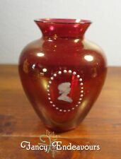 Mary Gregory Cranberry or Ruby Glass Vase with Cameo Portrait