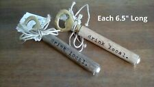 New (2) drink local Bottle Openers - Wood Handles Gold Metal Tops ; Nice Gifts