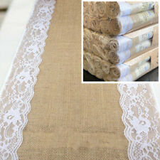 Table Runner Burlap Hessian with Lace Jute Natural 30cmW x 200cmL Wedding Table