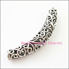1Pc Tibetan Silver Flower Wave Tube Spacer Beads Charms Connectors 66mm
