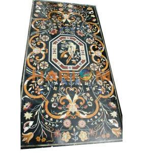 "30""x60"" Marble Black Top Designer Handmade Occasional Decor Inlay Art Table B498"
