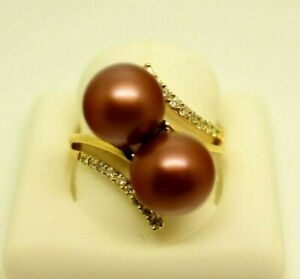 11mm Chocolate Tahitian Pearl Double Bypass .20 ct Diamond Ring 14k Solid Gold