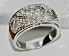 Sterling Silver (925) 0.50ct Ladies Chunky Heart Band / Cocktail Ring - size L