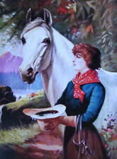Vintage art Woman with Horse drinking from hat R AFox