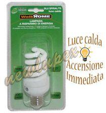 LAMPADINA RISPARMIO ENERGETICO SPIRALE E27  LUCE CALDA  15W - WelkHome