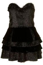Topshop UNIQUE schwarz Lametta Prom Partykleid 14 42 10 £ 250