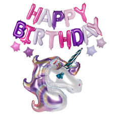 Purple Unicorn Happy Birthday Letter Star Foil Balloons Party Decoration Props