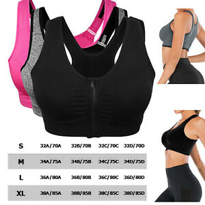 Women Sports Bra Padded Wireless Front Zip Yoga Cami Push Up Vest Support Top UK