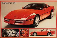 (PRL) 1991 CORVETTE ZR 1 CAR AUTO STORICA SPORT VINTAGE AFFICHE PRINT POSTER ART