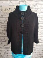 Black Cardigan Size 16 uk big button Detail