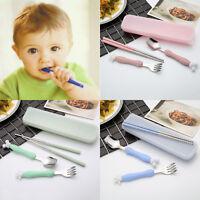 4pc/set stainless steel Spoon Fork chopstick Kids Cutlery Child Flatware