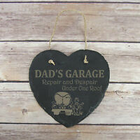 Personalised Birthday Home Gift Dad's Garage Slate Hanging Sign Plaque