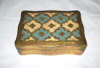 "Vintage Decorative Wooden Jewelry Trinket Box 7 x 5 x 2"" Italy"