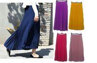 New Women Knife Pleated Skirt High Elastic Waist Long Maxi Dress Islam Arab
