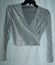 Vtg 90's gray crush velvet shirt sexy low cut short top Sz Small