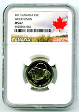 2011 CANADA 25 CENT NGC MS67 WOOD BISON ( BUFFALO ) QUARTER RARE