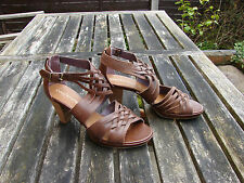"new YOU! KNOW"" ladies size 6 brown leather strappy 3"" heeled sandals"