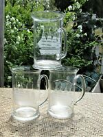3 ETCHED Clear Glass Mugs Clipper Ships w/Handles