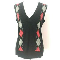 Cabi Womens 100% Lambs Wool Red Gray Argyle Sleeveless Sweater Vest Size Medium