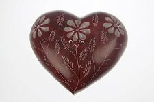 3 Inch RED Soap Stone Heart Shaped Incense Stick Holder Soapstone (RED-A)