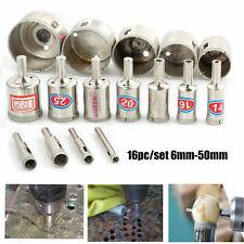 16Pcs Diamond Holesaw Holes Saw Drill Bit Glass Marble Ceramic Cutter 6-50mm Set