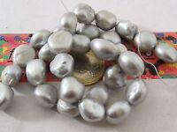 PERLA 1 filo di perle semi grezze irregolari australiane grigie da acqua di mare