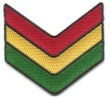 RASTA CHEVRONS military stripes IRON-ON PATCH *FREE SHIPPING* bob marley reggae