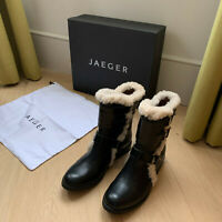 JAEGER Berwick Boot - Shearling Trim Flat Boot in Black (Size 37)