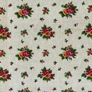 Heavyweight French linen cotton fabric pink yellow floral vintage upholstery