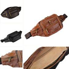Men Genuine Leather Fanny Pack Waist Belt Bag Phone Pouch 7 Pockets Fashion Chic