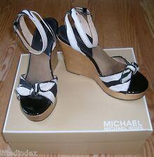Womens 7 7M MICHAEL KORS Carla Platform Wedge Open Toe Sandals Shoes Black White