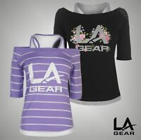 Ladies LA Gear Lightweight 3/4 Sleeves Mock Layer T Shirt Top Sizes from 8 to 18