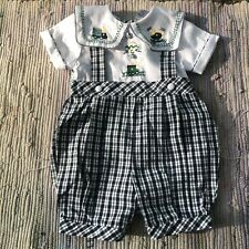 Carriage Boutique Romper 6m Baby Smocked Infant Boys 1-Piece Bubble Plaid Train