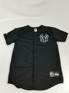 Kids Youth Majestic Black New York Yankees Button Down Jersey MLB Made In USA XL