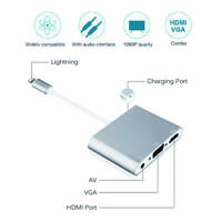 3 in 1 for Lightning to HDMI/VGA Audio Adapter Converter for iPhone x 8 iPad UK