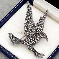 A Large Vintage Striking Sterling Silver 925 Marcasite EAGLE Brooch