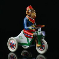 1Pc Wind Up Toy Collectible Retro Clockwork Tin Toys Monkey Riding a Car US