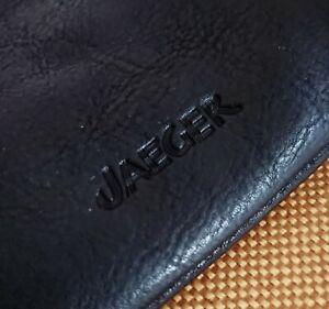 Vintage 80s Jaeger Navy Leather Clutch Bag.