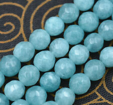 "Natural 6mm Faceted Blue Aquamarine Round Gemstone Loose Beads 15"" AAA++"